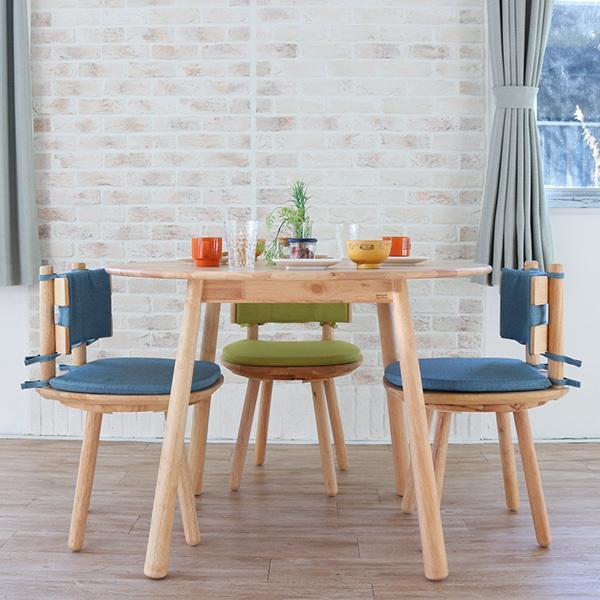 ダイニングテーブルセット 北欧風 円形 4人掛け 5点 天然木 無垢 丸テーブル おしゃれ 幅100cm ナチュラル 回転椅子 カバーリング gkw|ikikagu|03