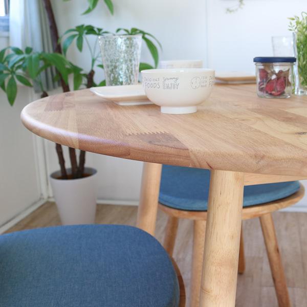 ダイニングテーブルセット 北欧風 円形 4人掛け 5点 天然木 無垢 丸テーブル おしゃれ 幅100cm ナチュラル 回転椅子 カバーリング gkw|ikikagu|04