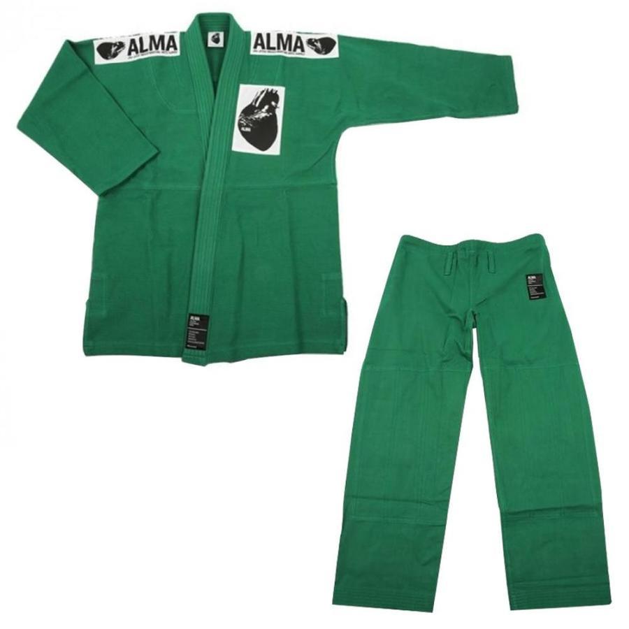 送料無料 ALMA アルマ レギュラーキモノ 国産柔術衣 A2 緑 上下 JU1-A2-GR