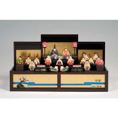 雛人形「段飾雛 うるわし」小サイズ/一刀彫/奈良/十五人飾り/ひな人形