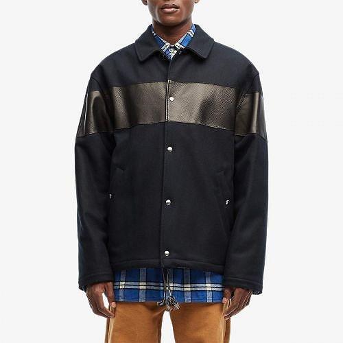 MARNI マルニ メンズ 男性用 ファッション アウター ジャケット コート ウール·ピーコート Leather Inset Wool Worker Jacket - Blue Navy