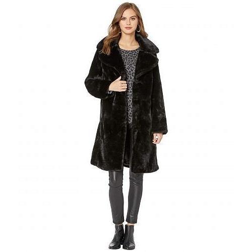 新発売の Avec Les Filles レディース 女性用 ファッション アウター ジャケット コート Faux Fur Knee-Length Coat - Black, ダディッコ 3e812540
