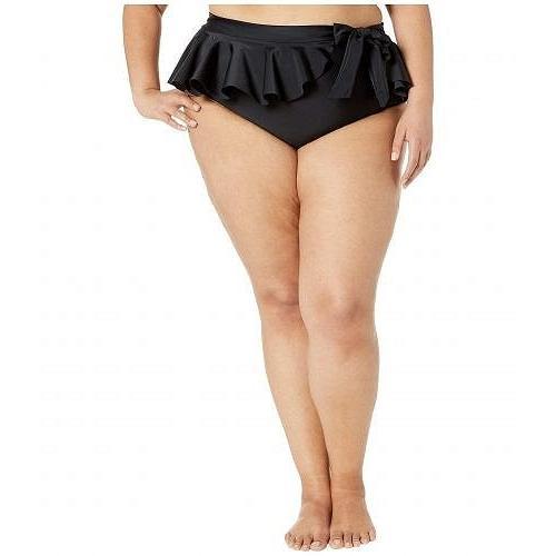 Unique Vintage ユニークビンテージ レディース 女性用 スポーツ・アウトドア用品 水着 Plus Size Ruffle Wrap High-Waist Bonnie Bikini Bottoms - 黒