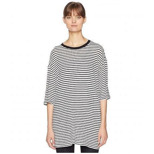 正規品! R13 レディース 女性用 ファッション Tシャツ Oversized Striped Boyfriend T-Shirt - White/Black, 神戸牛 旭屋 1ff91610
