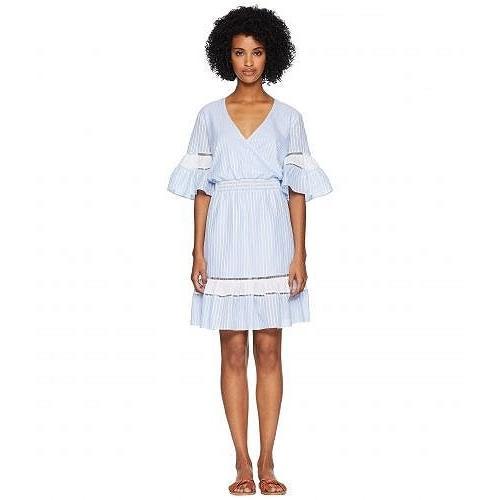 Jonathan Simkhai レディース 女性用 スポーツ・アウトドア用品 水着 カバーアップ Striped Cotton Wrap Mini Dress Cover-Up - Chambray Combo