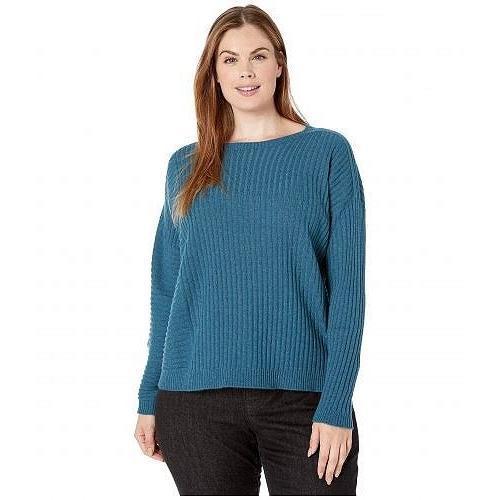 Eileen Fisher アイリーンフィッシャー レディース 女性用 ファッション セーター Plus Size Seamless Italian Cashmere Round Neck Top - 青 Spruce