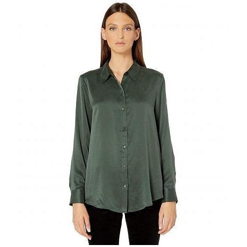Eileen Fisher アイリーンフィッシャー レディース 女性用 ファッション ブラウス Sandwashed Silk Charmeuse Classic Collar Shirt - Deep Hemlock