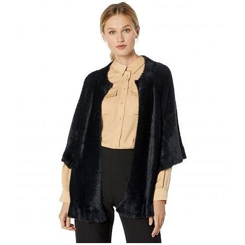『1年保証』 Tribal トリバル レディース 女性用 ファッション アウター ジャケット コート 3/4 Sleeve Sweater Cardigan w/ Frill - Black, シントクチョウ 8adfdfe4