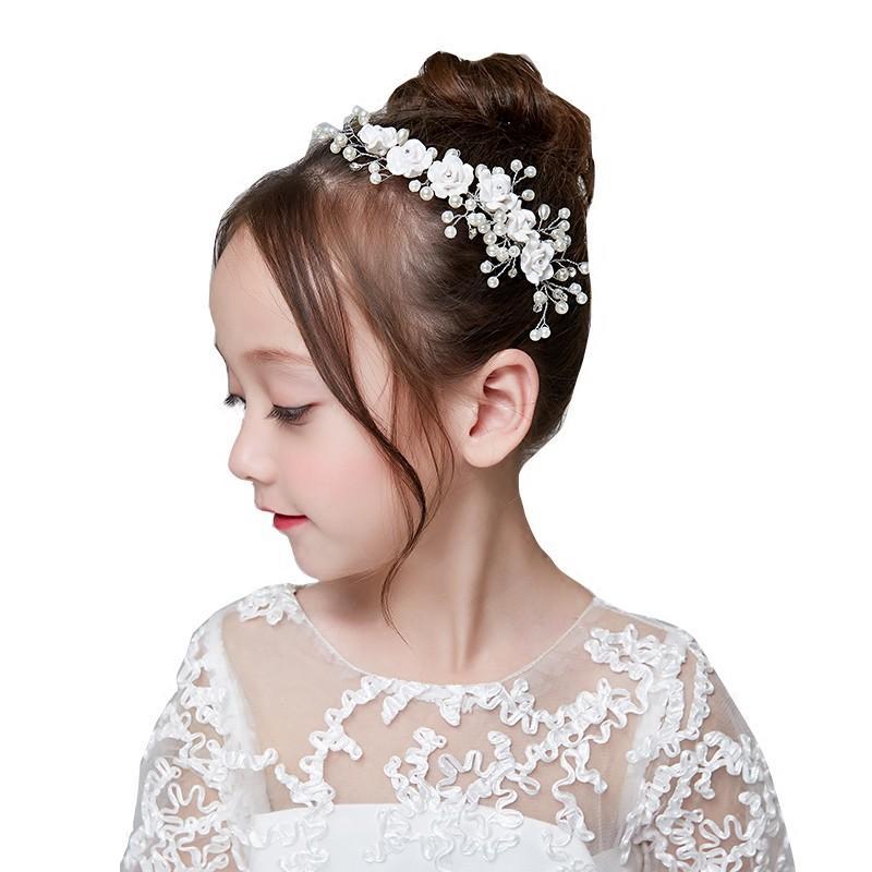 e017432c738a8 ヘアアクセサリー ヘッドドレス 子供 髪飾り 女の子 キッズ 花 ヘアアクセ ホワイト パール ラインストーン コーム かんざし ティアラ カチューシャ  (HC18)