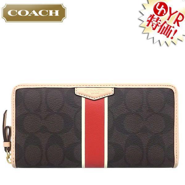 426f4d0f6abd コーチ COACH 財布 長財布 F51234 ブラウン×バーミリオン シグネチャー ...