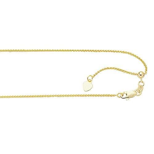 【特別訳あり特価】 Jewelryweb Solid 10K Yellow Gold 1.0mm 10K 1.0mm Adjustable Wheat Chain - Necklace - 22 Inch【並行輸入品】, タカキチョウ:d0435949 --- airmodconsu.dominiotemporario.com