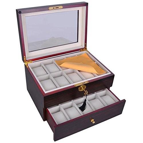 【SEAL限定商品】 Black Walnut Matte Stain Color Wood Walnut Glass Drawer Top 20 Display Watch 2-deck Display Case Jewelry Box Drawer w Lock 並行輸入品, マリセリ:31b45c44 --- airmodconsu.dominiotemporario.com