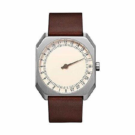 【人気急上昇】 slow Jo 17 - Swiss Made one-hand 24 hour watch - Silver with dark brown leather band 並行輸入品, 留夜別村 81a800bb