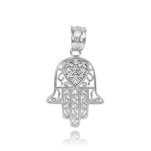 格安人気 Middle Eastern Hamsa Jewelry Fine 10k Heart White Gold Diamond-Accented Fine Heart Filigree-Style Hamsa Charm Pendant【並行輸入品】, 品質のいい:46f0687d --- airmodconsu.dominiotemporario.com