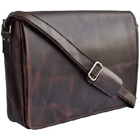 Rustic Town 15 inch Vintage Crossbody Genuine Leather Laptop Messenger Bag Rustic Town Inc SFR151104ADN-D