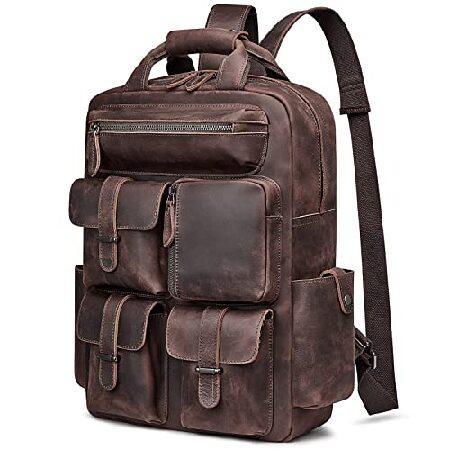 【史上最も激安】 S-ZONE Men Men Vintage Genuine Leather Daypack Backpack Multi Daypack Multi Pockets Travel Bag【並行輸入品】, パリスマダム:39284cc4 --- fresh-beauty.com.au