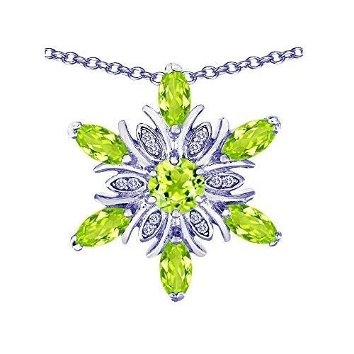 おすすめ Star K Simulated Peridot and Cubic Zirconia Snowflake Pendant Necklace Sterling Silver【並行輸入品】, モデルノ da4df14c