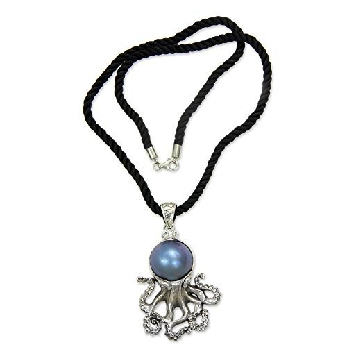 【新品本物】 NOVICA Dyed Blue Cultured Mabe Mabe Pearl Dyed .925 Sterling NOVICA Silver Necklace, 18