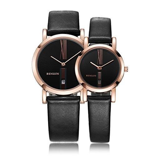 驚きの値段で BINLUN His and Hers Gifts Pair?Couple Watches Minimalist Waterproof Leather?Rose Gold Watches with Date for Anniversary 並行輸入品, SQueeze SQuare b1d812fc