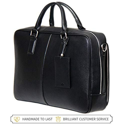 Mens Leather Tote Bag Business Briefcase 14 Computer Bag,Black-OneSize