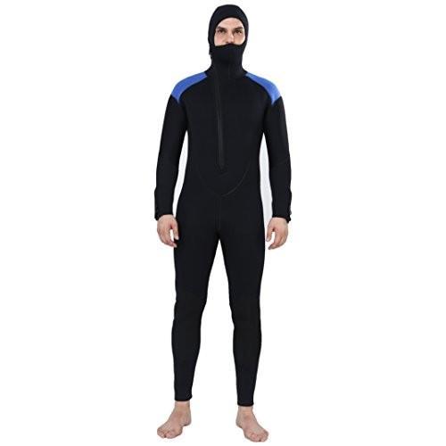 【予約販売品】 REALON Wetsuit 5mm Full Diving Suit Front Zipper Hoodie Snorkeling Surfing Suits Men (5mm Black Blue, 2X-Large) 並行輸入品, ザアペックス 8d9f95d6
