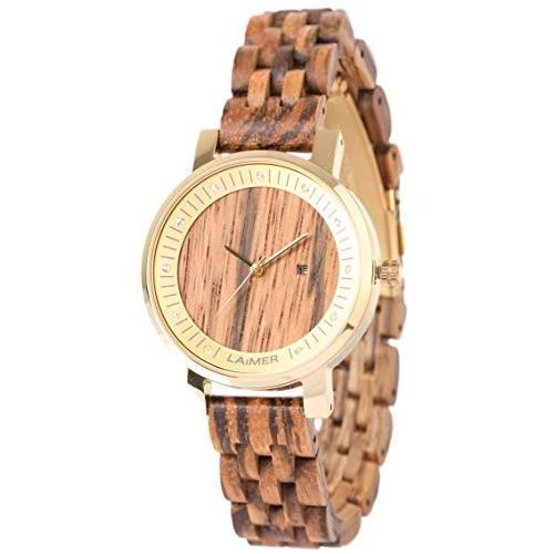 ファッションの LAiMER Women's Wooden Watch Jenni - Wrist Watch Made of Natural Zebrano Wood with Stainless Steel Case and Swarovski Crystals 並行輸入品, バーク堆肥は土乃素 ふたばの土 056e941f