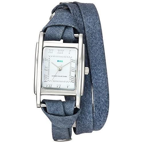開店記念セール! La Mer Collections Women's Japanese-Quartz Watch with Leather Calfskin Strap, Blue, 7.9 (Model: LMMILWOOD010) 並行輸入品, サロンドロワイヤル f9ee3545