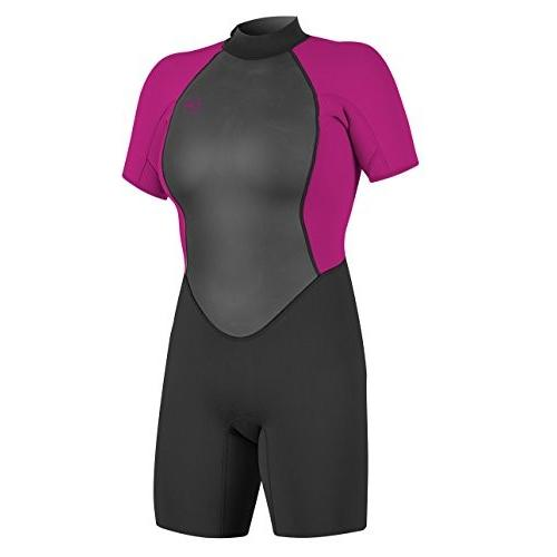 【限定セール!】 O'Neill Women's Reactor-2 2mm Back Zip Short Sleeve Spring Wetsuit, Black/Berry, 4 並行輸入品, 京都豆富 d56b9d1b