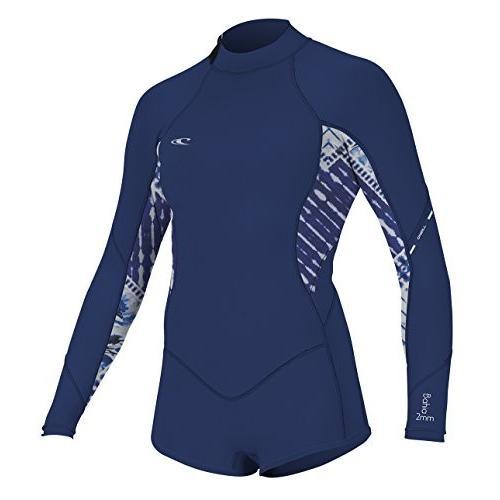 品質が完璧 O'Neill Women's Bahia 2/1mm Back Zip Long Sleeve Short Spring Wetsuit, Navy, 4 並行輸入品, ヒガシシラカワグン 29559d38
