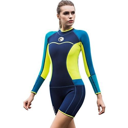 品質は非常に良い Micosuza Womens Shorty Wetsuit Long Sleeve 1.5MM Neoprene Back Zip Winter Swimwear Long Sleeve Diving Snorkeling Surfing Swimwear 並行輸入品, なんでも酒店 3fee2a07