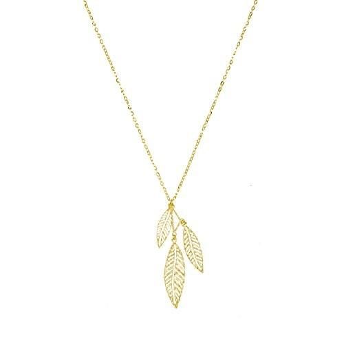 世界的に有名な 14k Yellow Gold Falling Leaves Pendant Adjustable Necklace, Leaves Adjustable Necklace, 16