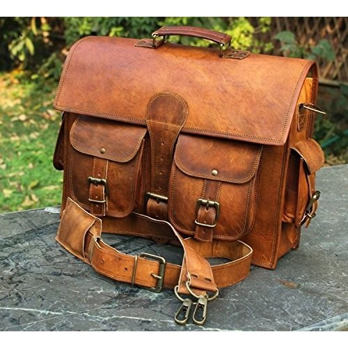 New Genuine Vintage Leather Messenger Laptop Briefcase Handcrafted 18 Inches Bag