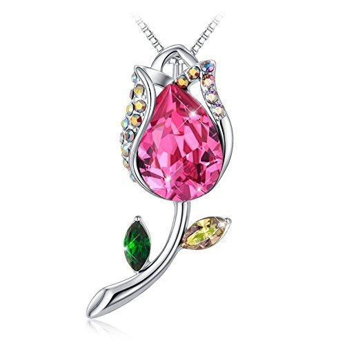 輝く高品質な Tojean for Girlfriend 'Happiness Flower' Women Rose Necklace Gifts for Her Pendant with Red Swarovski Crystal, Jewelry for Women, Gifts for Mom【並, ホライゾンアスリート 01b56aff