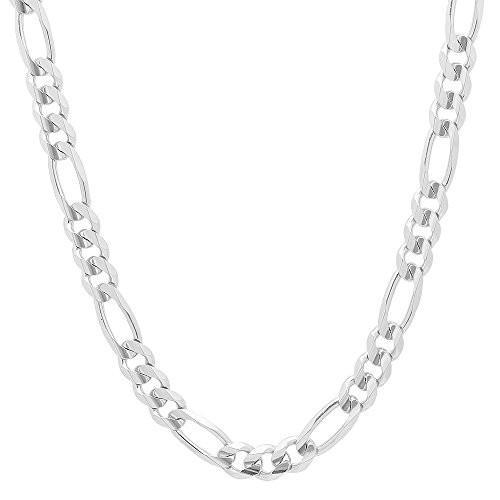 ファッション NYC Sterling Unisex 8MM Flat Light Solid Sterling Silver Figaro Chain Necklace, Made in Italy. (22