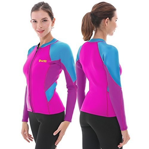 【在庫あり】 GoldFin Women's Wetsuit Top, 2mm Neoprene Wetsuit Jacket Long Sleeve Front Zip Wetsuit Shirt for Diving Snorkeling Surfing Kayaking Canoeing (Fuchsia,, Day Tripper d2fa4cd7