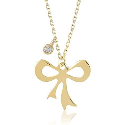 【超安い】 Gelin 14k Real Gold 0,01 ct Diamond Ribbon Bow Tie Pendant Necklace for Women, A Perfect Surprise Gift for Her, 18 inch【並行輸入品】, 常葉町 36101bd0
