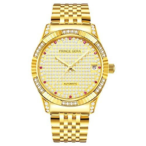 安い購入 Prince Gera Watches Calendar Lady 18K Gold Plated Women's Watches Automatic Diamond Mechanical Watch Calendar Watch with Crystal Golden Dress Wrist Watches for Lady 並, 中川郡:124b74d6 --- airmodconsu.dominiotemporario.com