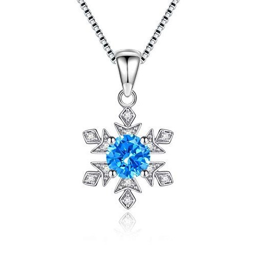 【人気商品】 Sterling Silver Pendant Necklace Jewelry Created Blue Topaz Fashion Jewelry Snowflake Birthday Gifts【並行輸入品】, nanoTimeBeauty-MIXMAX 3e938482