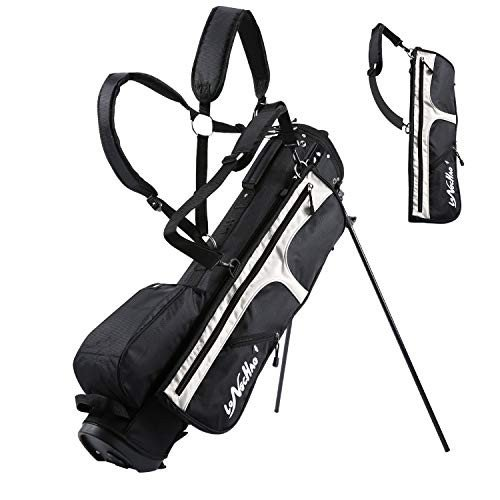 【★超目玉】 LONGCHAO Golf Bag for Men- Black White Stand Golf Bag Lightweight 4 Way Top - Detachable Cute Backpacks Removable Rain Hood,Hybrid Walking Golf Bag wi, オグチムラ b3d590d0