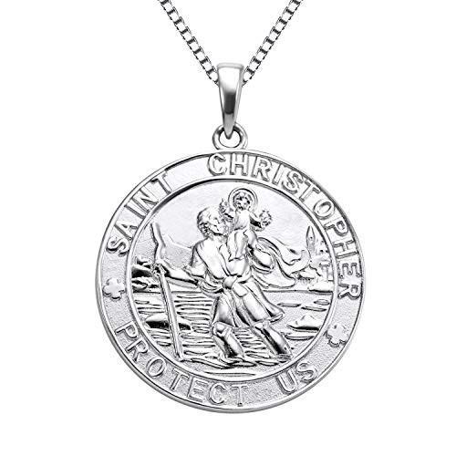 春先取りの YL Jewelry St Christopher Medal Pendant Patron Saint Guardian Protect Us Necklace 925 Sterling Silver Religious Engraved Medallion, 18