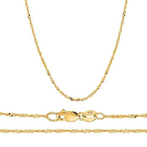 超特価SALE開催! Orostar Solid 10K Yellow Gold Gold 1MM,1.5MM,1.7MM Sturdy Sturdy Singapore Chain Solid - 16