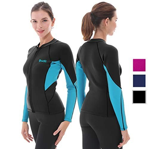 【超特価SALE開催!】 GoldFin Women's Wetsuit Top, 2mm Neoprene Wetsuit Jacket Long Sleeve Front Zip Wetsuit Shirt for Diving Snorkeling Surfing Kayaking Canoeing (Black, S, 大里村 a6fb8d3d