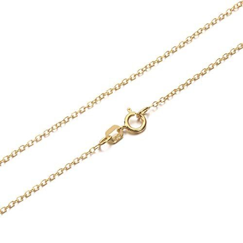 2019人気特価 Solid 14k Gold 1.3mm Cable Chain - Great for Pendants - Women's Real Gold Necklace 16