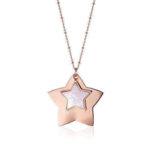 最安 Sterling Silver Star Plated Large Layered Double Silver Star Pendant Necklace with Mother of Pearl Inlay Rose Gold Plated 28