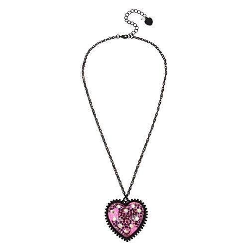 【予約】 Betsey Johnson Women's Glitter Heart Pendant Necklace, Fuchsia, One Size【並行輸入品】, Jewelry SUEHIRO b56d960a