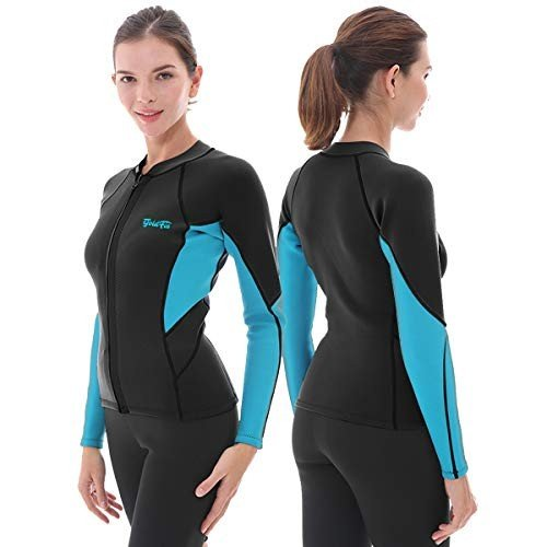 【年中無休】 GoldFin Women's Canoeing Sleeve Wetsuit Top, for 3mm Neoprene Wetsuit Jacket Long Sleeve Front Zip Wetsuit Shirt for Diving Snorkeling Surfing Kayaking Canoeing (Black, L, DEMODE SPORTS:9dee8e6b --- airmodconsu.dominiotemporario.com