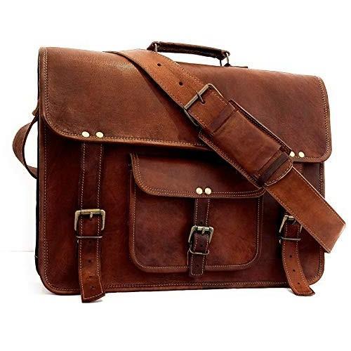 Men/'s Handmade Leather Vintage Laptop Messenger Travel Briefcase Shoulder Bag