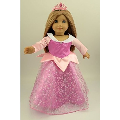Doll Dress Sleeping Beauty Princess Party Dress with Hairpin for 18 Inch American Girl Dolls and Al