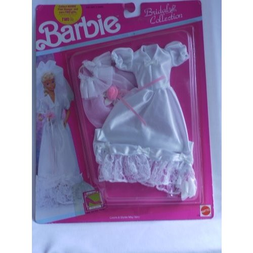 Barbie Bridal Collection Wedding Gown with Wide Round Collar, Nylon Hip Overlay, Faux Fur Muff, Nyl