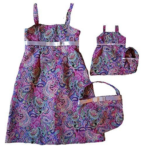 Size 10 Paisley Matching Girl And Doll Dresses With Purses